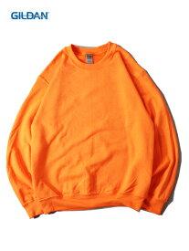【USモデル】 GILDAN 8oz PLAIN SETIN TRAINER CREWNECK SWEAT safety orange ギルダン 8オンス クルーネック スウェット トレーナー プレーン 無地 セーフティー オレンジ