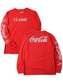 【インポート】COCA-COLA LOGO CLASSIC LOGO SLEEVE L/S TEE red コカコーラ クラシック ロゴ スリーブ 長袖Tシャツ レッド