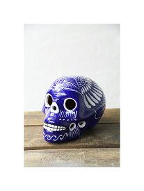 【インポート/即納】メキシカンスカル カラベラデコール ミディアムサイズ 陶器 ブルー MEXICAN SKULL MEDIUM blue/white