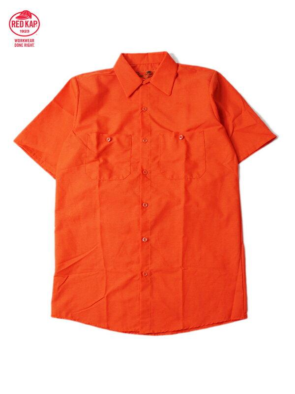 【あす楽】RED KAP レッドキャップ ワークシャツ 半袖 薄手 4.5オンス 無地 オレンジ S/S WORK SHIRTS orange