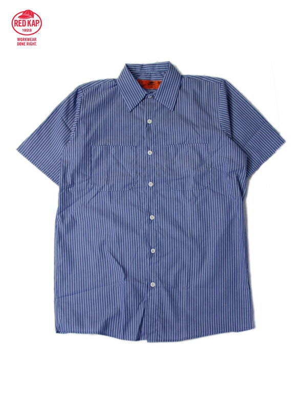【あす楽】RED KAP レッドキャップ ワークシャツ 半袖 薄手 4.5オンス ストライプ ホワイト/GMブルー STRIPE S/S WORK SHIRTS gm blue/white