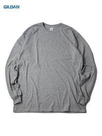 【USモデル】GILDAN ギルダン ロンT ロングスリーブ ウルトラコットン 無地 グレー 6.0oz LONG SLEEVE T-SHIRTS gray