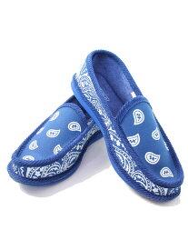 【インポート】ハウスシューズ ペイズリー バンダナ柄 ロイヤルブルー 青 ルームシューズ トゥルーパーアメリカ TROOPER AMERICA BANDANNA SLIPPERS HOUSE SHOES royal blue