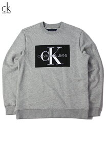 【US買い付け正規品】Calvin Klein Jeans BOX LOGO CREW NECK SWEAT gray カルバンクライン ボックス ロゴ クルーネック スウェット グレー