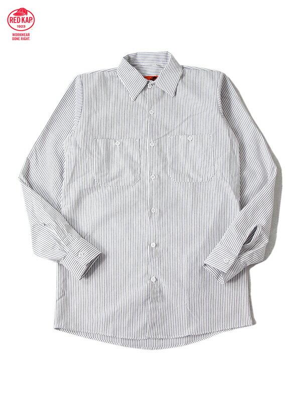 【あす楽】RED KAP レッドキャップ ワークシャツ 長袖 無地 ストライプ 白 チャコール L/S STRIPE SHIRTS white charcoal