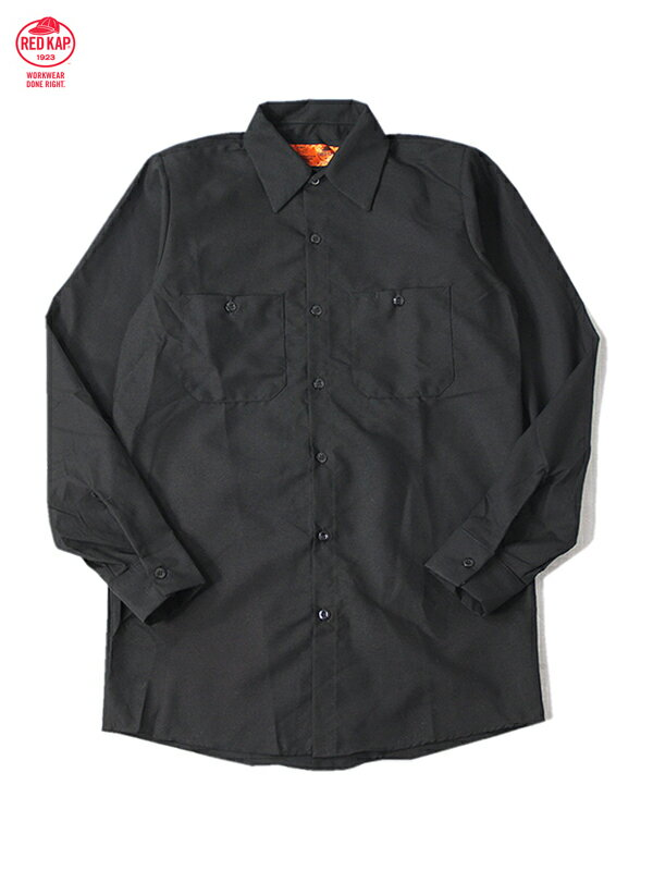 【インポート】RED KAP レッドキャップ ワークシャツ 長袖 無地 黒 ブラック L/S WORK SHIRTS black