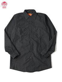 RED KAP レッドキャップ 長袖 ワークシャツ 無地 ブラック L/S WORK SHIRTS black