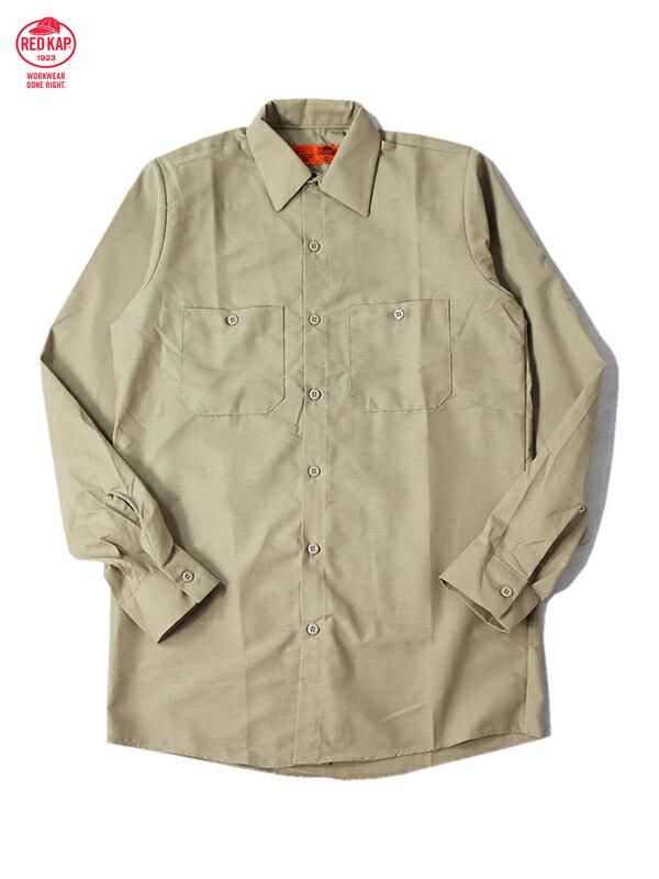 【インポート】RED KAP レッドキャップ ワークシャツ 長袖 無地 カーキ・ベージュ L/S WORK SHIRTS khaki beige
