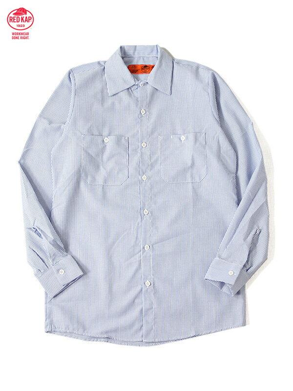 【インポート】RED KAP レッドキャップ ワークシャツ 長袖 ストライプ 白 ブルー L/S STRIPE SHIRTS white/blue