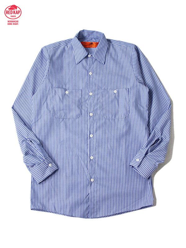 【インポート】RED KAP レッドキャップ ワークシャツ 長袖 無地 ストライプ 太ブルー L/S STRIPE SHIRTS gm blue