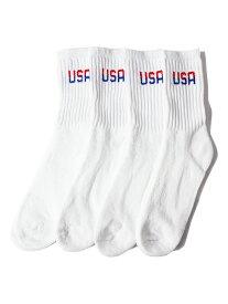 【インポート】USA ハイ ソックス 靴下 4足組 パイル 白 ホワイト 4PAIR Hi SOCKS SOX white