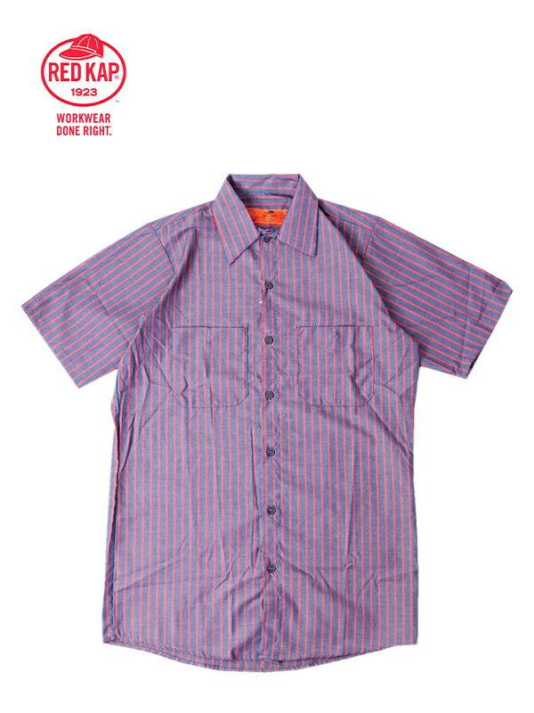 【あす楽】RED KAP レッドキャップ ワークシャツ 半袖 薄手 無地 ストライプ ネイビー S/S STRIPE SHIRTS navy red