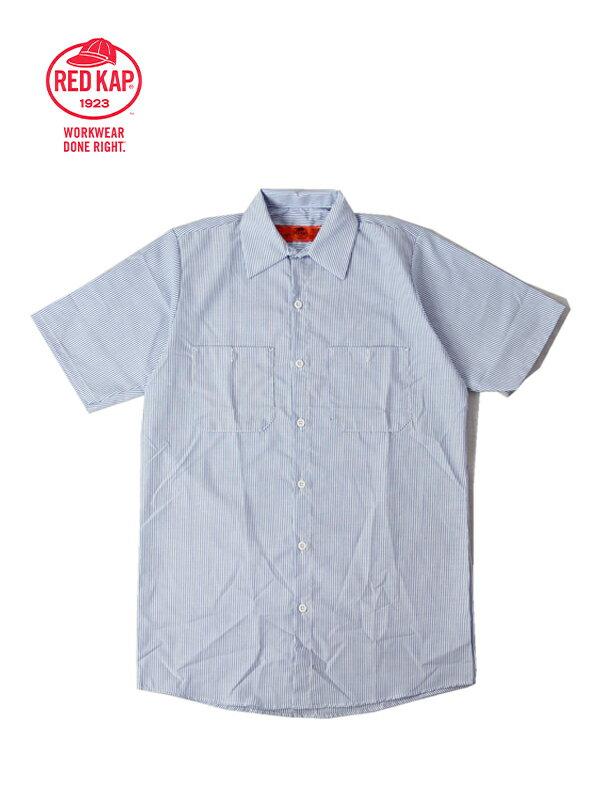 【あす楽】RED KAP レッドキャップ ワークシャツ 半袖 薄手 無地 ストライプ 青 白 S/S STRIPE SHIRTS blue white