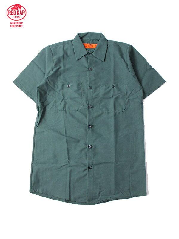 【あす楽】RED KAP レッドキャップ ワークシャツ 半袖 薄手 4.5オンス 無地 ダークグリーン S/S WORK SHIRTS green