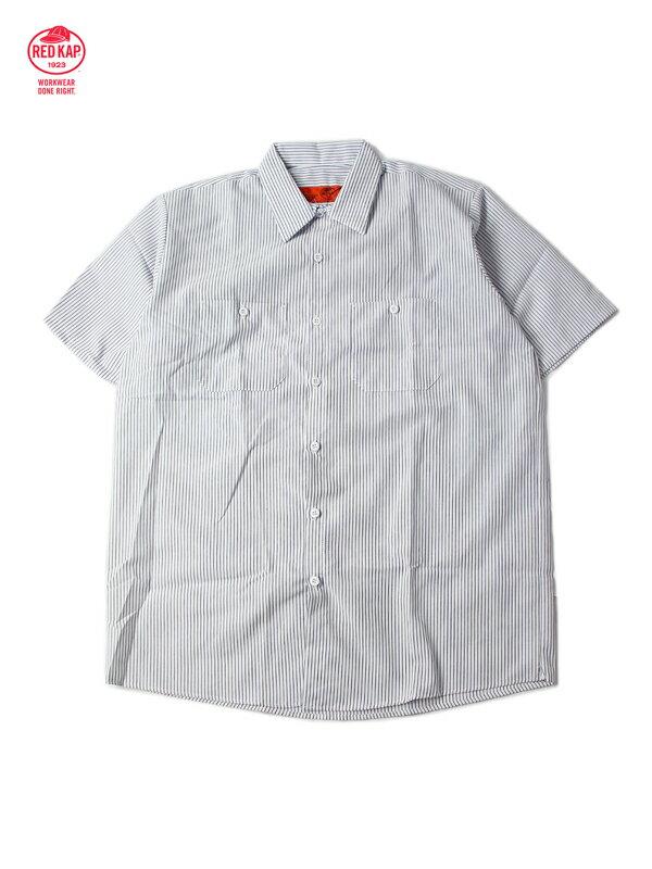 【あす楽】RED KAP レッドキャップ ワークシャツ 半袖 薄手 4.5オンス ストライプ ホワイト/チャコール STRIPE S/S WORK SHIRTS white/chacoal