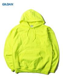 【即納】GILDAN ギルダン プルオーバー パーカー フード プレーン 無地 セーフティグリーン 蛍光色 ネオンカラー 8.0oz PLAIN PULLOVER HOODIE safety green