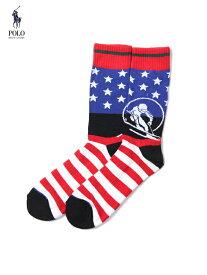 【メール便1枚まで対応】POLO Ralph Lauren ポロ ラルフローレン USA SKI HI SOCKS multi ハイソックス 星条旗