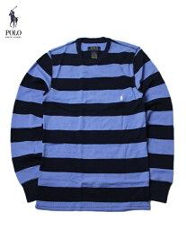 【US買い付け正規品】POLO Ralph Lauren ポロ ラルフローレン ボーダー柄 サーマルシャツ ロングスリーブ Tシャツ ワッフル ブルー・ネイビー BORDER WAFFLE THERMAL L/S SHIRT blue/navy