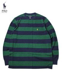 【US買い付け正規品】POLO Ralph Lauren ポロ ラルフローレン ボーダー柄 サーマルシャツ ロングスリーブ Tシャツ ワッフル グリーン・ネイビー BORDER WAFFLE THERMAL L/S SHIRT green/navy