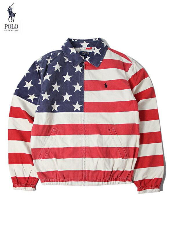 【正規品】POLO Ralph Lauren ポロ ラルフローレン 星条旗柄 コットン スイングトップ ウインドブレーカー ジャケット レッド ホワイト USA FLAG SWING TOP WIND BREAKER usa flag