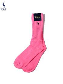 POLO Ralph Lauren ポロ ラルフローレン PONY SAFETY COLOR HI SOCKS SOX pink セーフティーカラー ポニー ハイソックス 24cm〜30cm