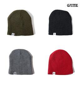 【即納】GAME(ゲーム) / ニット帽 麻柄タグ KNIT CAP SINGLE olive/black/gray/red