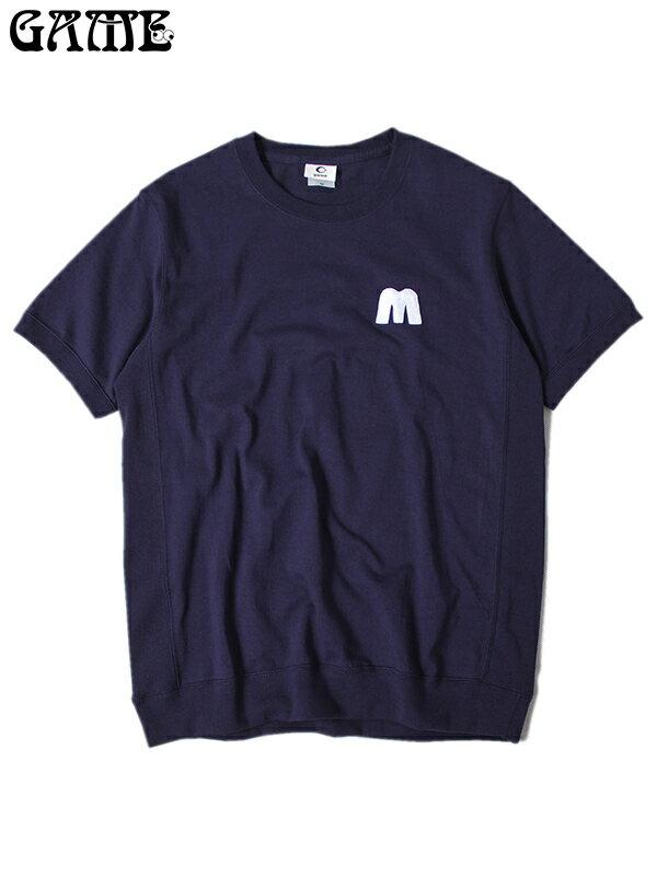 """再入荷【あす楽】半袖 へヴィーウェイト Tシャツ 7.1オンス サイドパネル リブ パッチ 紺 ネイビー GAME """"M PATCH"""" HEAVYWEIGHT S/S Tee SHIRTS navy"""