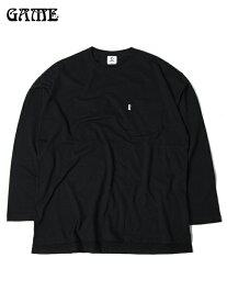 【あす楽】ビッグTシャツ ロンT ワイド ビッグシルエットT ポケットT ルーズフィット 無地 長袖 黒 ブラック GAME ゲーム BIG SILHOUETTE POCKET L/S LONG SLEEVE Tee black