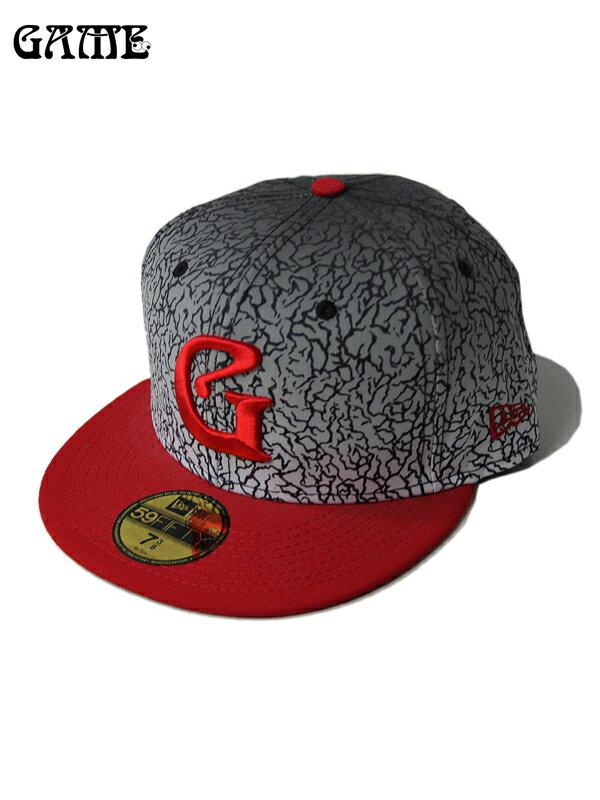 【即納】GAME NEW ERA ベースボールキャップ ニューエラ レッド エレファントスキン コンクリート ロゴ 59FIFTY BASEBALL CAP G-ERA elephant/red