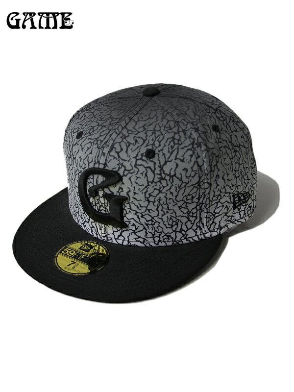 【即納】GAME NEW ERA ベースボールキャップ ニューエラ レッド エレファントスキン コンクリート ロゴ 59FIFTY BASEBALL CAP G-ERA elephant/black