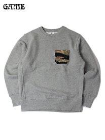 【あす楽】GAME タイガーカモポケット クルーネックスウェットシャツ 12オンス サイドパネル グレー TIGER CAMO POCKET CREW-NECK SWEATSHIRT gray