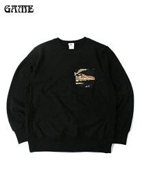 【あす楽】GAME タイガーカモポケット クルーネックスウェットシャツ 12オンス サイドパネル ブラック TIGER CAMO POCKET CREW-NECK SWEATSHIRT black