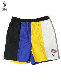 【ビンテージ】【正規品】POLO Ralph Lauren USA FLAG SWIM PANTS black/blue/yellow/white ポロ ラルフローレン スウィムパンツ 星条旗ブラック/ブルー/イエロー/ホワイト