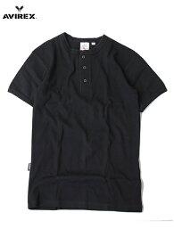 【即納】AVIREX (アビレックス) / ヘンリーネック Tシャツ リブ 半袖 メンズ ブラック 黒 DAILY S/S HENLEY NECK Tee black