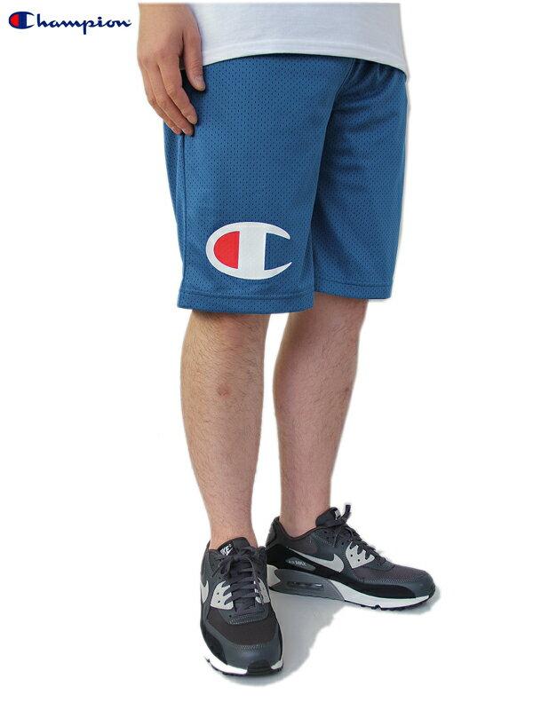【あす楽】【正規取扱店】Champion(チャンピオン) / C3-G501 BIG LOGO BASKET SHORTS blue ビッグロゴ メッシュ ショーツ バスケ ブルー 青