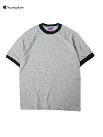 【即納】Champion チャンピオン トリムTシャツ US規格 5.2オンス グレー/ブラック 5.2oz TRIM Tee-shirt gray/black