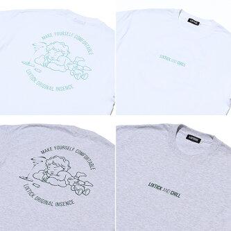 LIXTICK/LIXTICKANDCHILLSHORTSLEEVETEEwhitegray2colorリックスティックアンドチル半袖Tシャツホワイトアッシュグレー2色