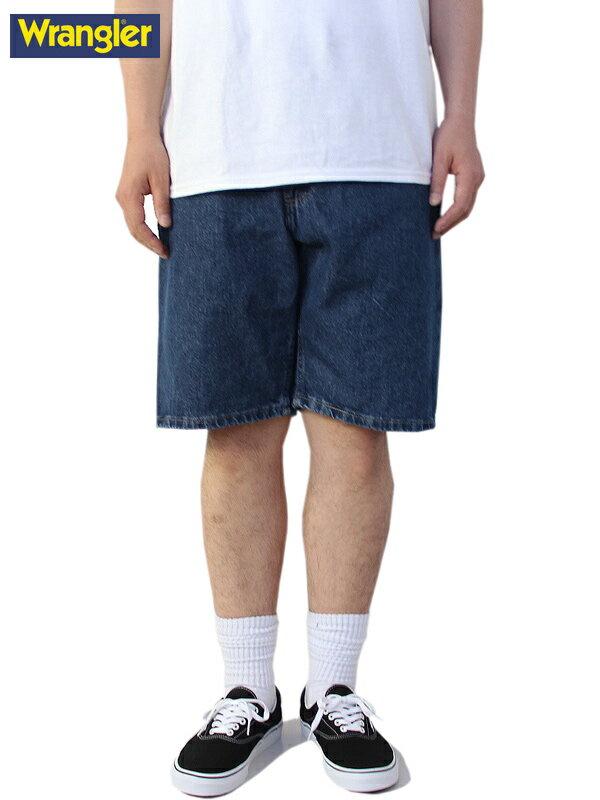 【USモデル/あす楽】ラングラー デニムショーツ ショートパンツ ハーフパンツ ワイド 青系 インディゴ ブルー Wrangler Relaxed Fit Denim Shorts blue