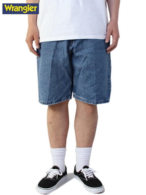 【USモデル/あす楽】ラングラー デニムショーツ ショートパンツ ハーフパンツ ワイド 青系 インディゴ ライトブルー Wrangler Relaxed Fit Denim Shorts lt blue