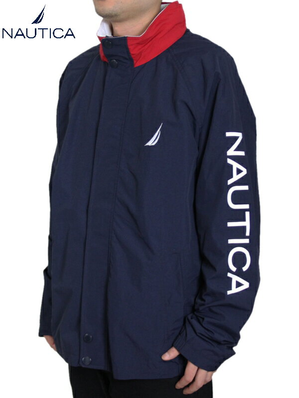 【USモデル/あす楽】NAUTICA ノーティカ ナイロンジャケット ライトアウター フード 紺 ネイビー NYLON JACKET navy