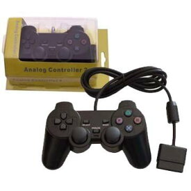 プレステ2【PS2】【PS1】【新品】 プレイステーション専用コントローラー ブラック Analog Controller 2 海外サードパーティー社製品【有線】箱アリ