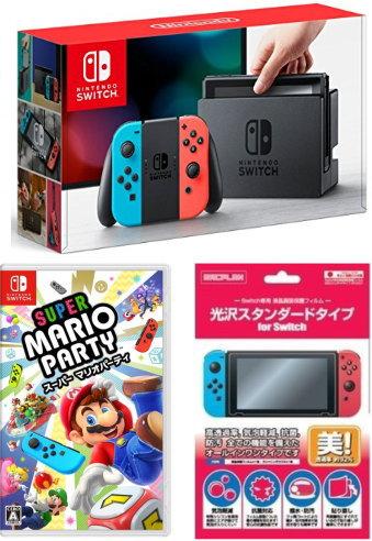 【お正月ギフト商品】★ おまけ付★新品 Nintendo Switch Joy-Con (L) ネオンブルー/ (R) ネオンレッド+{Switch}スーパー マリオパーティ2点セット