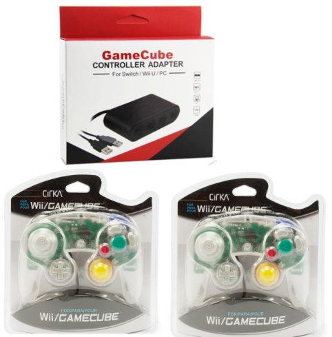 人気3点セット・新品 GameCube コントローラーアダプター+シリカ コントローラ クリア 2個