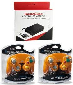 人気3点セット・新品 GameCube コントローラーアダプター+シリカ コントローラ オレンジ 2個