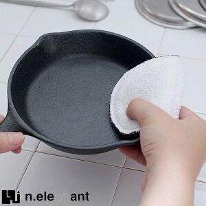 水だけで油汚れをスッキリ落とす nikii 2way レンジスポンジ ホワイト エヌエレファント 鉄フライパン用 リバーライト用 おすすめ タワシ 調理道具 フライパン洗い 食器洗い &NE newitem