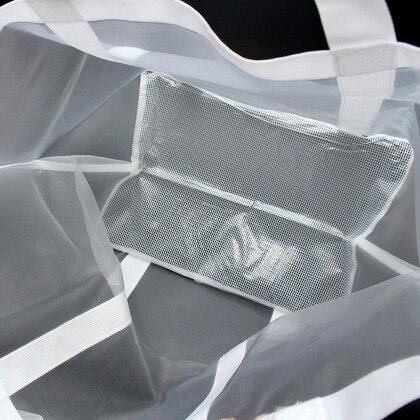 ★ショルダー付きメッシュランドリーバッグダンドリーホワイト【メール便なら送料無料】【よりどり3点】【dohkon】