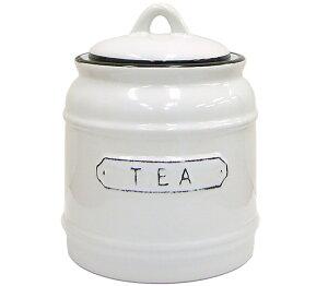 ホーロー風 陶器の紅茶用キャニスター