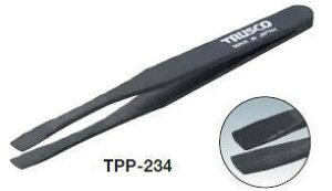 [プラスチック製ピンセット]トラスコ中山(株) TRUSCO プラスチック製ピンセット 120mm 先丸平型 TPP-234 1本【301-7273】