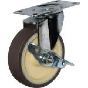 [プレート式ウレタンキャスター]ハンマーキャスター(株) ハンマー Eシリーズ旋回式ウレタン車輪(ナイロンホイール・ベアリング)125mm SP付 415E-UB125-BAR01 1個【398-4699】