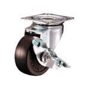 [プレート式ゴムキャスター]ハンマーキャスター(株) ハンマー 旋回式ゴム車輪 65mm ストッパー付 413S-R65-BAR01 1個【125-1686】